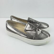 Seed Heritage Women Loafers Size 40 Silver White Metallic Platform Shoes Slip On