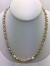 """10K Men's Solid Gold Two Tone 26"""" Handmade Chain Link Necklace 48.9 g 5 mm"""