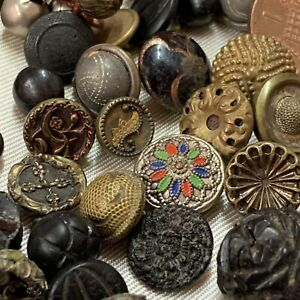 Antique Collection Of Buttons and Beads, Enamel, Bog Oak,Glass,jet, Metal