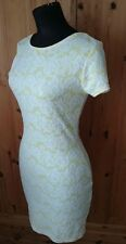 River Island Size 10 Yellow Bodycon Dress with Textured Lace Look