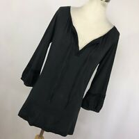 Theory S Small Shirt Black V neck Tie Front 3/4 Sleeve Womens Stretch Woman J1