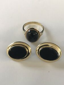 14K Yellow Gold Black Onyx Earrings Ring Set, Size 6, 5.2 Grams