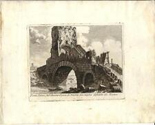 Stampa antica ROMA Ponte Salario Parioli Venuti 1805 Old antique print Rome