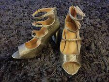 d57f997d670 REPORT Deschutes 8.5W Metallic Gold Block Heels Open Toe Three Strap Buckle  NWOB