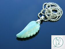 Amazonite Gemstone Angel Wing Pendant Necklace Natural Chakra Healing Stone