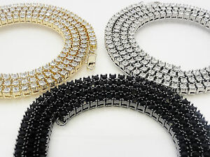 """Men's Women's Lab Simulate Crystal 1 Row 4 Prong Set Tennis Chain Necklace  30"""""""