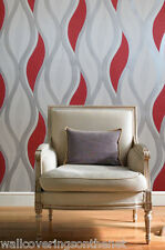 White, Silver & Red with Glitter, Decoratively Textured, Blown Vinyl Wallpaper