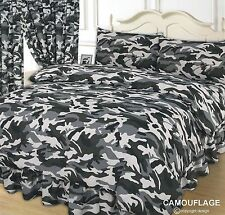 Super King Size Camouflage Black Grey White Duvet Cover Set Army Colours