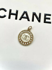 Chanel Gold Plated CC Logo Button Metal Zipper Pull, Pearl, Stamped
