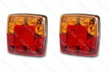 2 Slim LED Rear Stop Tail Indicator Lamps with Reflectors 12V 100mm x 100mm