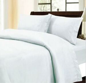 Luxury 3 PCs Duvet Set+Fitted Sheet White Solid UK King 1000 Thread Count