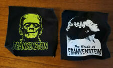 "5"" FRANKENSTEIN's Monster Patch and His Bride Flat BLACK CANVAS BACK Patches"