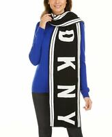 DKNY Womens Striped Stadium Logo Scarf Black and White DY01005