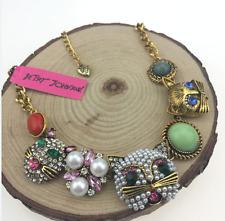 Charm rhinestone jewelry Betsey Johnson pearl pendant cat lady sweater necklaces