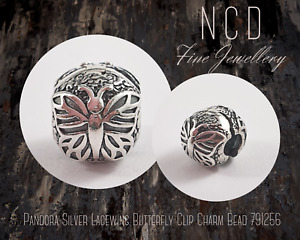 NC Designs Authentic Pandora Silver Lacewing Butterfly Clip Charm Bead 791256
