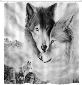 Wild Wolf Lover Shower Curtain Animals Theme Fabric Bathroom Decor with Hooks