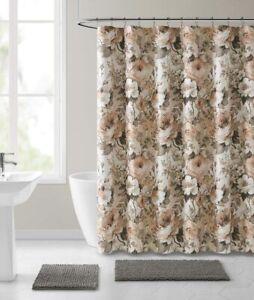 Nice Blush Beige Gray Rose Floral Victorian Farmhouse Fabric Shower Curtain