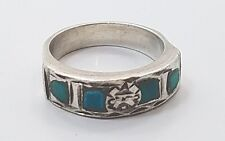 Turquoise Ladies Ring Size 4 Vintage Mexico Sterling Silver 925 Etched