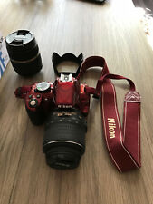 Nikon D D3100 14.2MP Spiegelreflexkamera - Rot (Kit mit VR 18-55mm and 18-200mm)