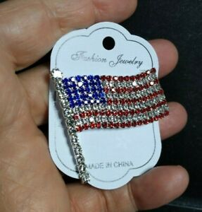 USA American Flag Patriotic Spirit Brooch Pin Independence Day Gift - Stunning