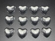 100 Transparent Clear Love Heart Dome Flatback Glass Cabochon 12mm