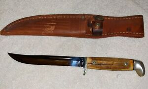 "Vintage Case XX 5"" Fixed Blade Stag Handle Knife Leather Sheath 1965 - 1980 USA"