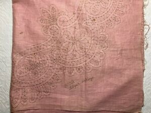 Antique Irish Linen Stamped for Needle Lace 29 Yds Tape 44 Rings Needed