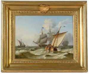 19th century seascape, Shipping off the Dutch Coast, Charles Martin Powell