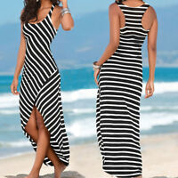 Women Casual Sundress Sleeveless Stripes Asymmetrical Loose Long Beach Dress DA
