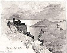 CAPRI: Veduta Ischia e Procida da Villa Jovis,Golfo di Napoli.Stampa Antica.1880