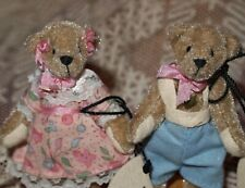 "Ganz Cottage Collectibles Miniature Bears ""Billy & Becky"" by Lynda Kunz w/Extras"