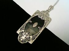 Vintage Art deco 14k Gold Filigree Diamond Onyx Necklace Pendant Platinum Chain