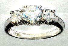 Zirkonia Kristall Ring massiv Silber Sterling 925 Ø 17mm