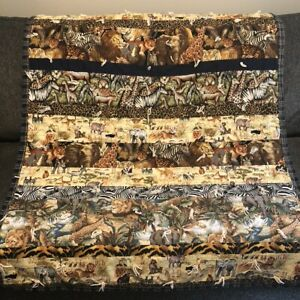 """Handmade Patchwork Quilt 42""""x56"""" Throw Brown Safari Animals Stripes Double Sided"""