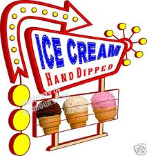 """Ice Cream Decal 14"""" Hand Dipped Concession Food Truck Cart Vinyl Menu Sign"""