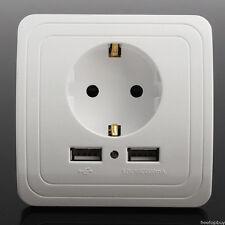 Dual 2A Puerto USB Cargador enchufe pared EU Placa receptáculo alimentación EM1