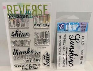 Reverse Confetti SHINE BRIGHT Sunshine IO Greetings Sayings Rubber Stamps Lot