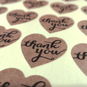 100 Large Thank You Stickers 35mm Hearts on High Quality Textured Kraft Paper
