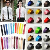 British New Style Men's Plain Slim Narrow Arrow Necktie Skinny Tie Neckwear Ties