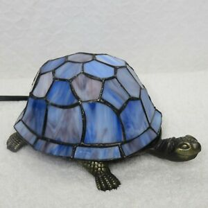 Blue Purple Stained Glass Turtle Night Light Accent Table Lamp Handcrafted