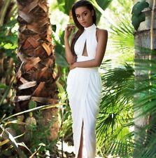 House of CB Celeb Boutique Arden Ivory White Grecian Drape Maxi Long Dress S 8