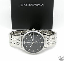 EMPORIO ARMANI AR0389 Classic Retro Round Black Chrono SS Bracelet Men's Watch
