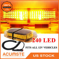 240 Led Amber Car Emergency Warning Flash Strobe Light Bar Roof Top Yellow Us