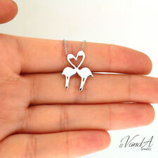 Sterling silver Flamingo Herat Love Necklace Flat Pendant Adjustable Chain N08