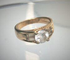 Designer SJNC Gold Clad Sterling Silver CZ Band Ring Sz 5