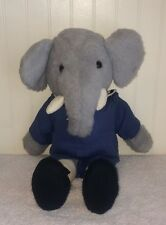 Babar The Elephant Plush Vintage Stuffed Blue School Boy Outfit Black Shoes 15""
