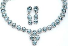 Blue Topaz Necklace Earrings SET Genuine Gemstones Solitaire 925 Sterling Silver