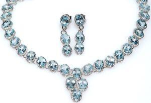 Blue Topaz Necklace Earrings SET Genuine Gemstones Solitaire 925 Sterling Silver