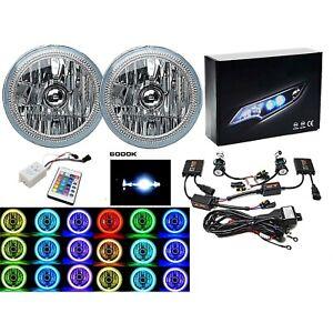 "7"" RGB COB Multi-Color Halo Angel Eye 6K HID Headlights Pair Fits Jeep Wrangler"