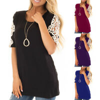 UK Women Ladies Lace Patchwork Summer Loose Blouse Shirt Short Sleeve Casual Top